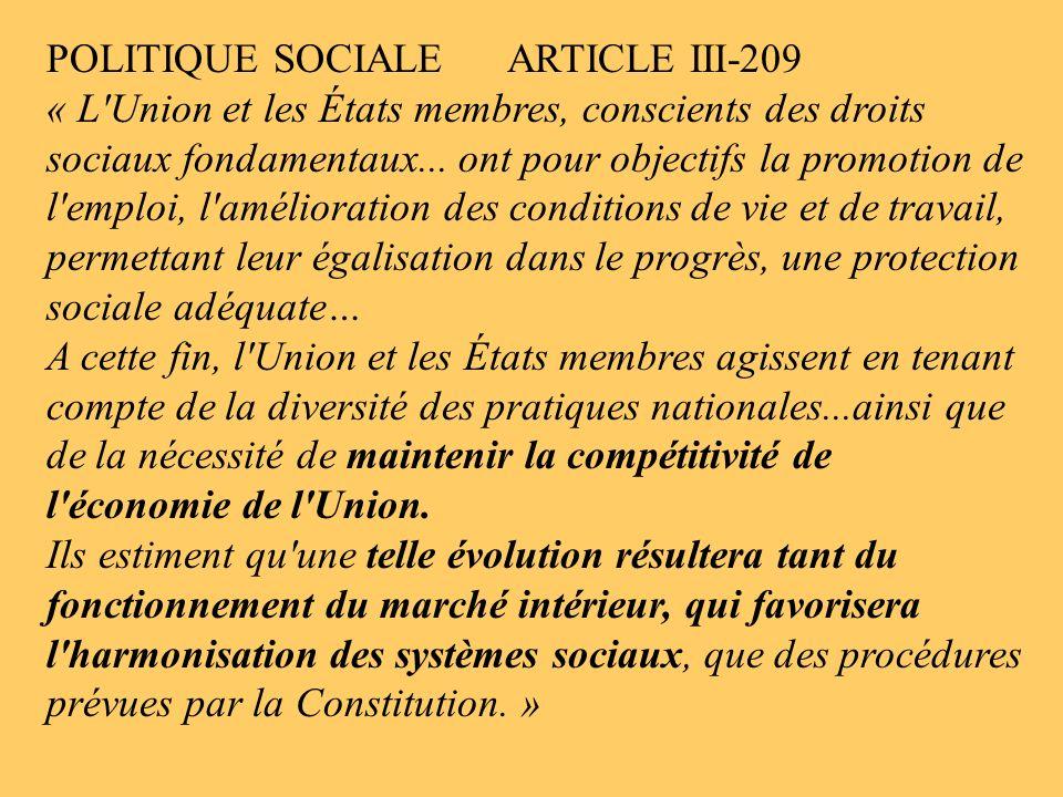 POLITIQUE SOCIALE ARTICLE III-209