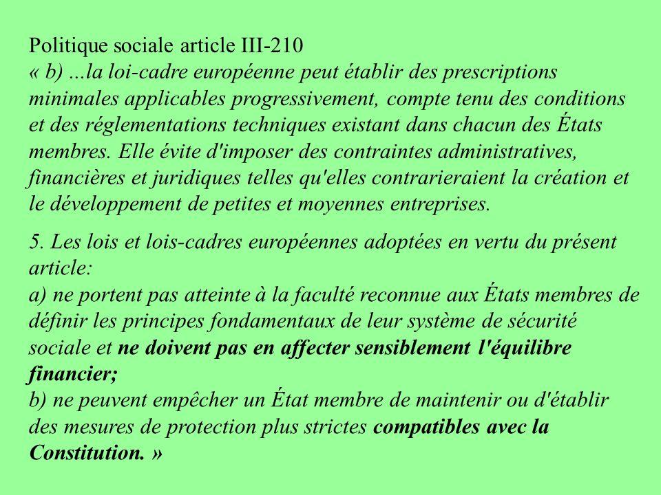 Politique sociale article III-210