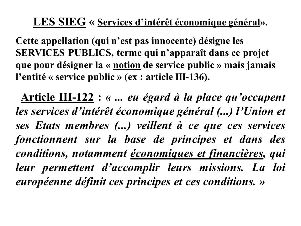 LES SIEG « Services d'intérêt économique général».