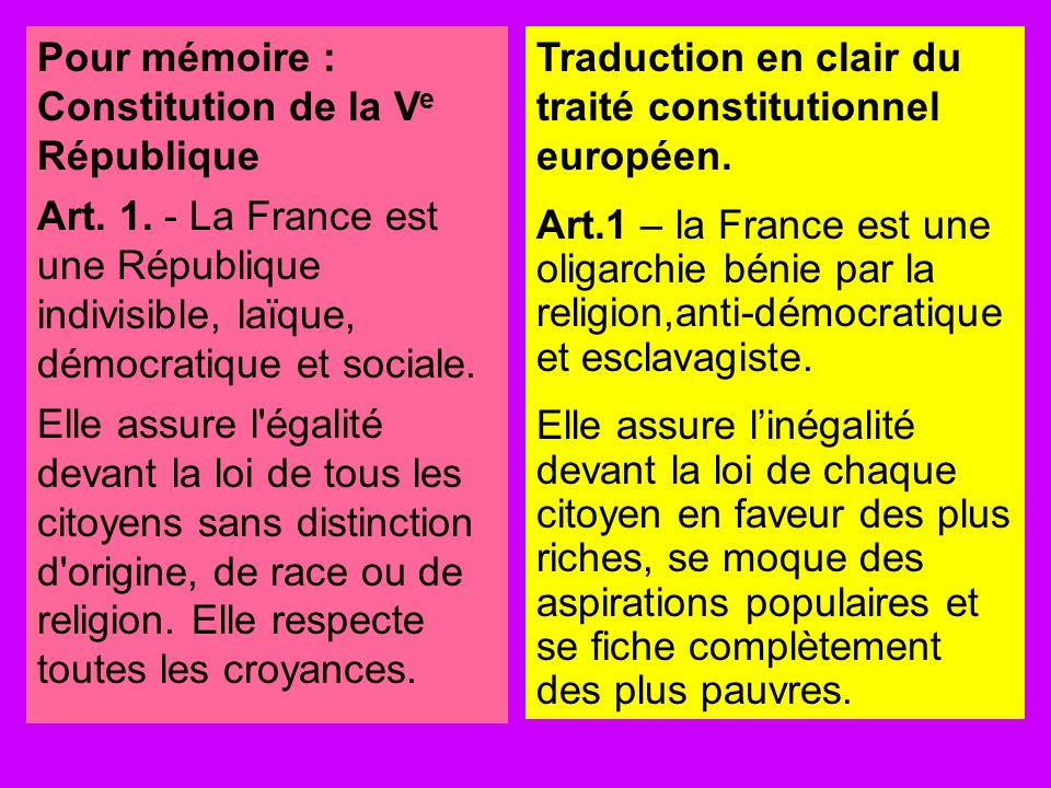 Pour mémoire : Constitution de la Ve République
