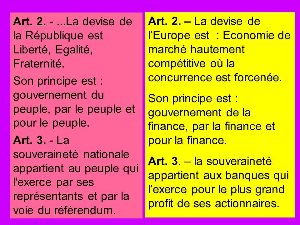Art. 2. - ...La devise de la République est Liberté, Egalité, Fraternité.