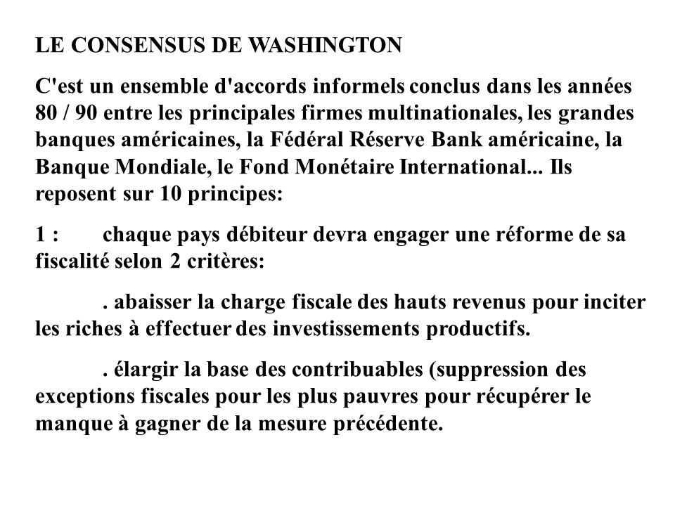 LE CONSENSUS DE WASHINGTON