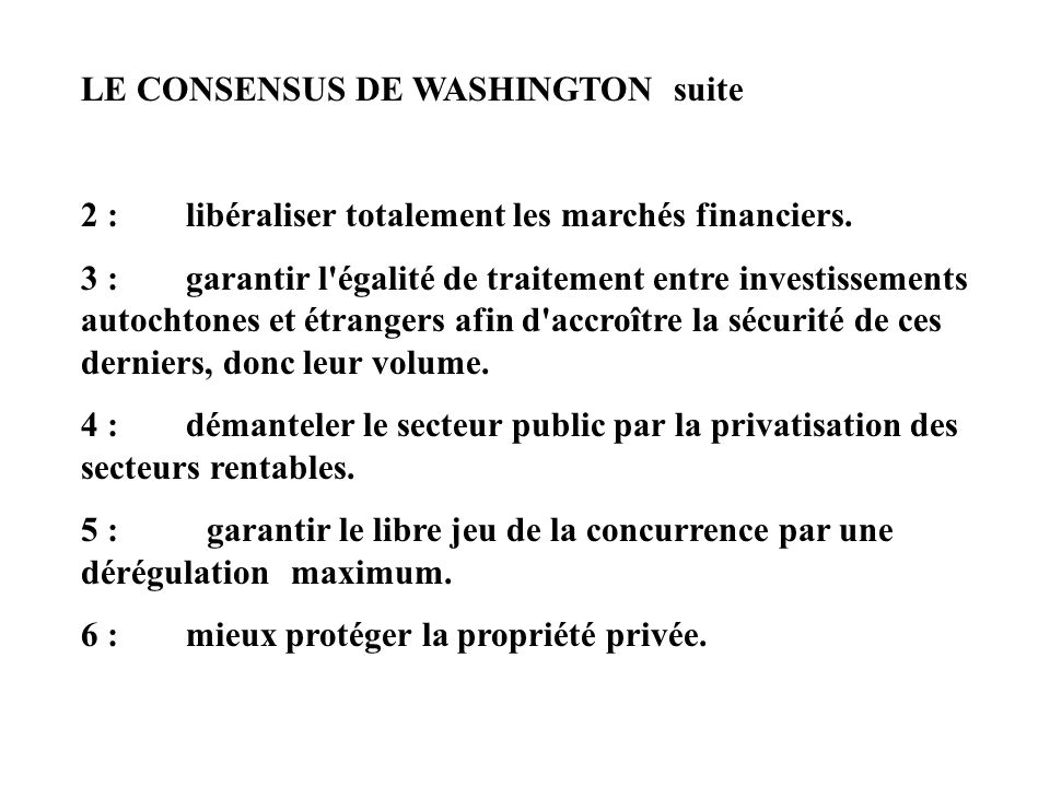 LE CONSENSUS DE WASHINGTON suite