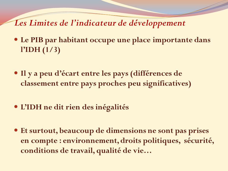 Les Limites de l'indicateur de développement