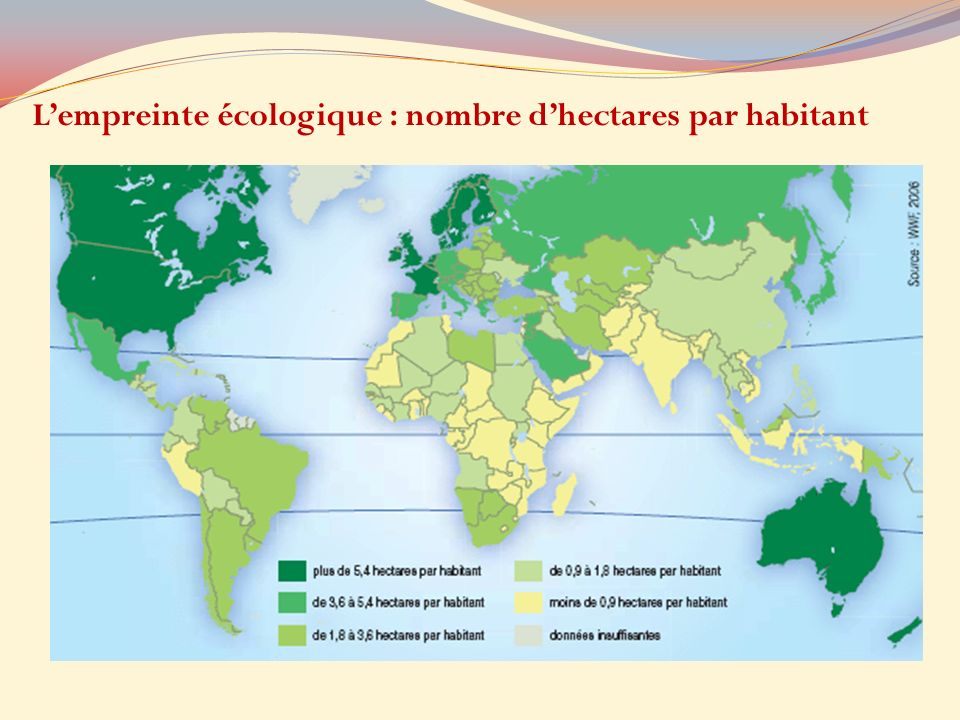 L'empreinte écologique : nombre d'hectares par habitant