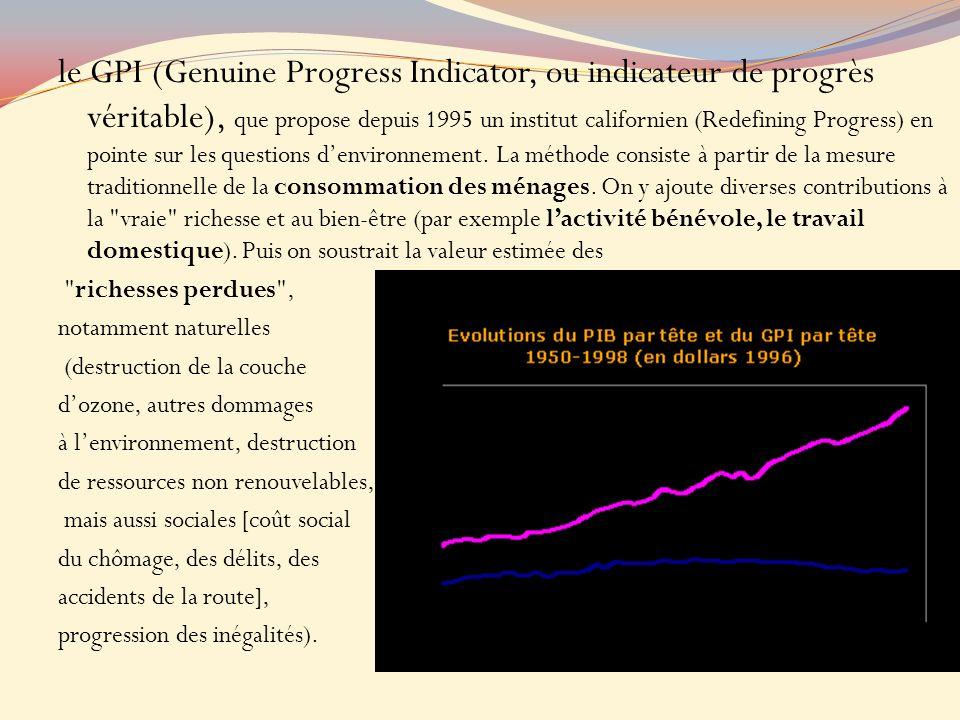 le GPI (Genuine Progress Indicator, ou indicateur de progrès véritable), que propose depuis 1995 un institut californien (Redefining Progress) en pointe sur les questions d'environnement. La méthode consiste à partir de la mesure traditionnelle de la consommation des ménages. On y ajoute diverses contributions à la vraie richesse et au bien-être (par exemple l'activité bénévole, le travail domestique). Puis on soustrait la valeur estimée des