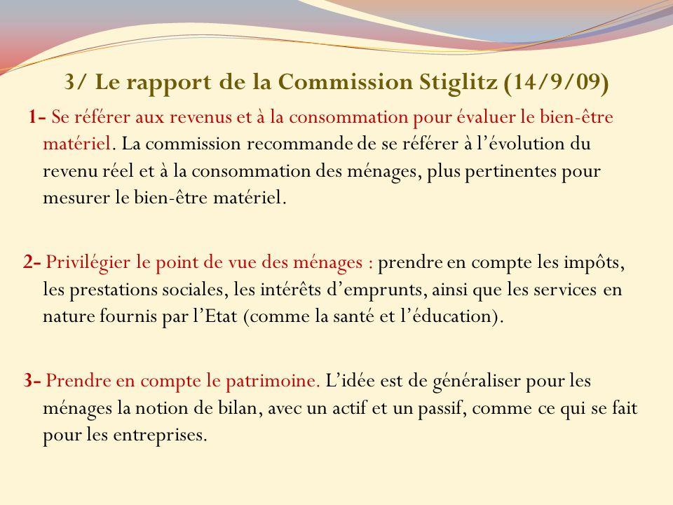 3/ Le rapport de la Commission Stiglitz (14/9/09)