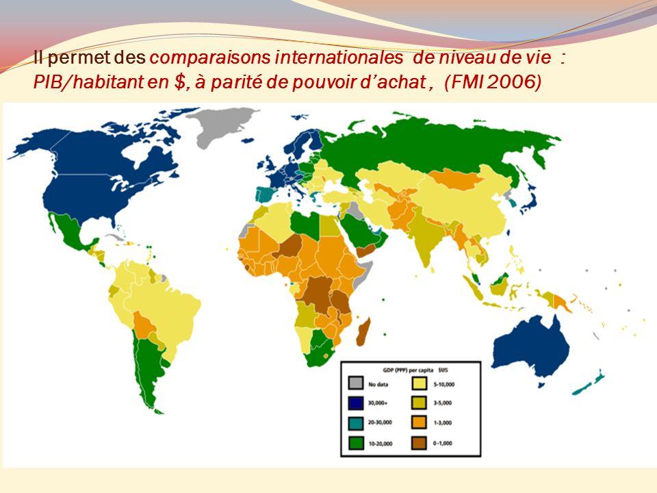 Il permet des comparaisons internationales de niveau de vie : PIB/habitant en $, à parité de pouvoir d'achat , (FMI 2006)