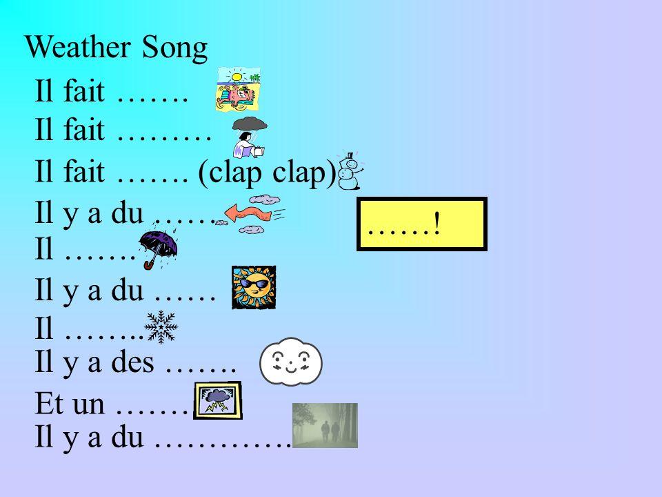 Weather Song Il fait ……. Il fait ……… Il fait ……. (clap clap) Il y a du …… ……! Il ……. Il y a du ……