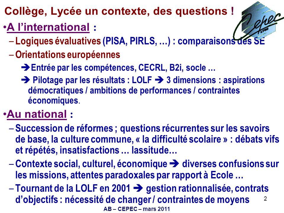 Collège, Lycée un contexte, des questions !