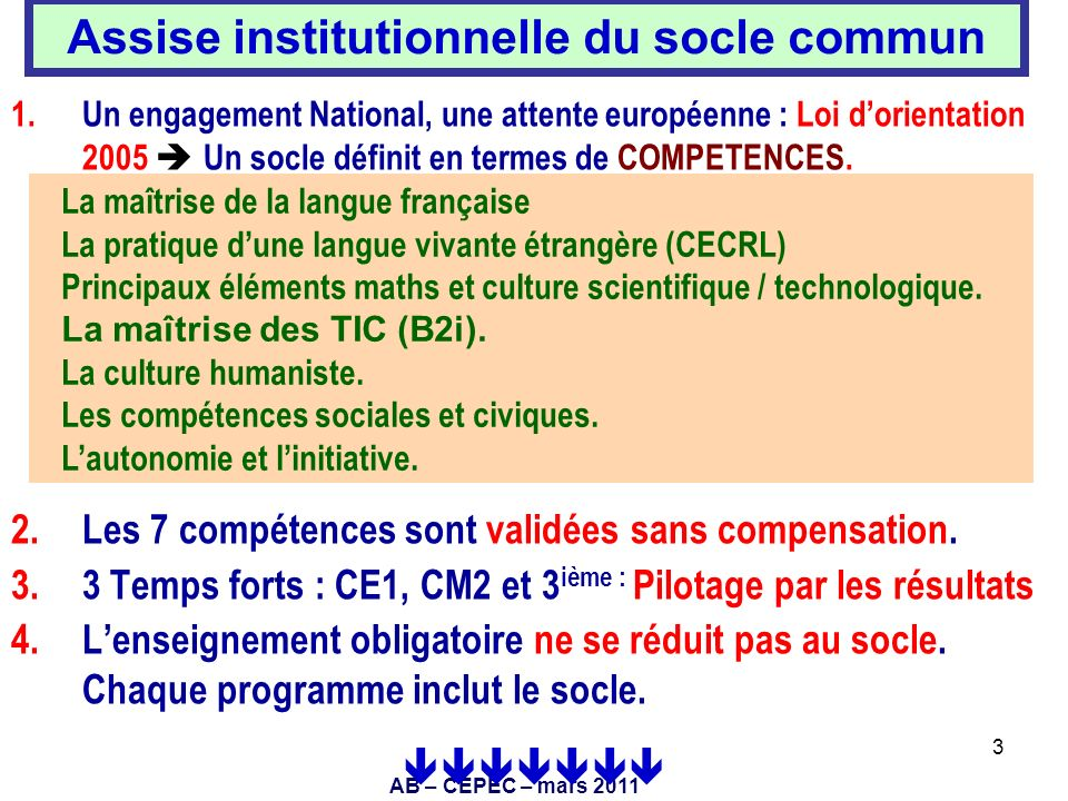 Assise institutionnelle du socle commun