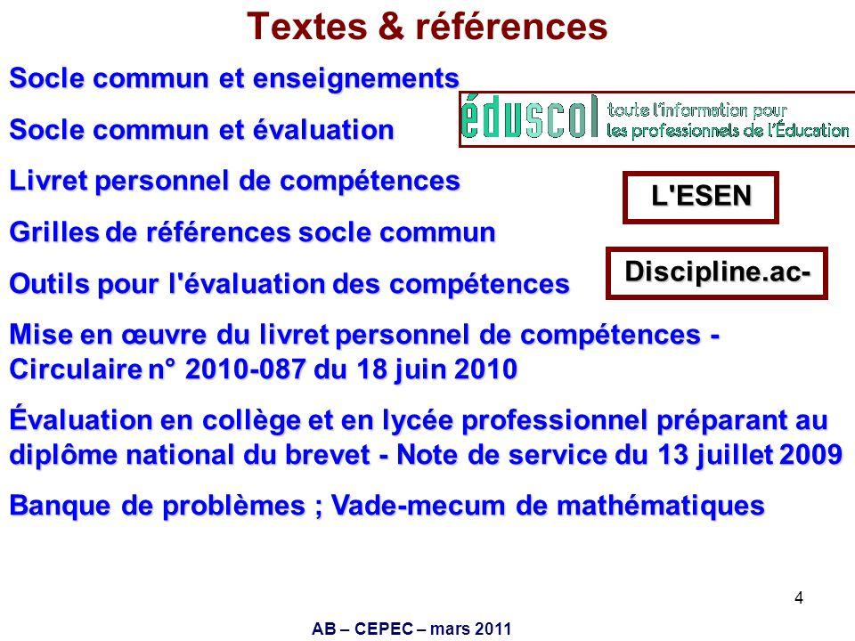 Textes & références Socle commun et enseignements