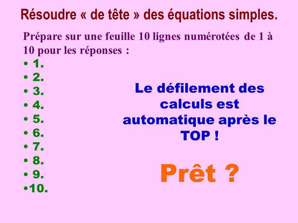 Prêt Résoudre « de tête » des équations simples.