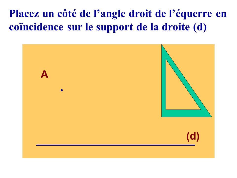 Placez un côté de l'angle droit de l'équerre en coïncidence sur le support de la droite (d)