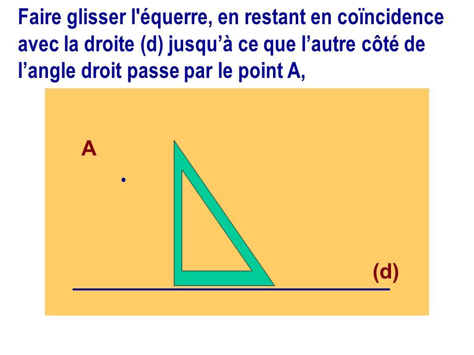 Faire glisser l équerre, en restant en coïncidence avec la droite (d) jusqu'à ce que l'autre côté de l'angle droit passe par le point A,