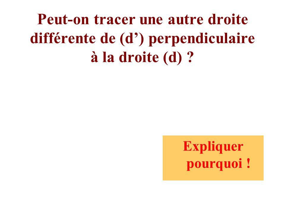 Peut-on tracer une autre droite différente de (d') perpendiculaire à la droite (d)