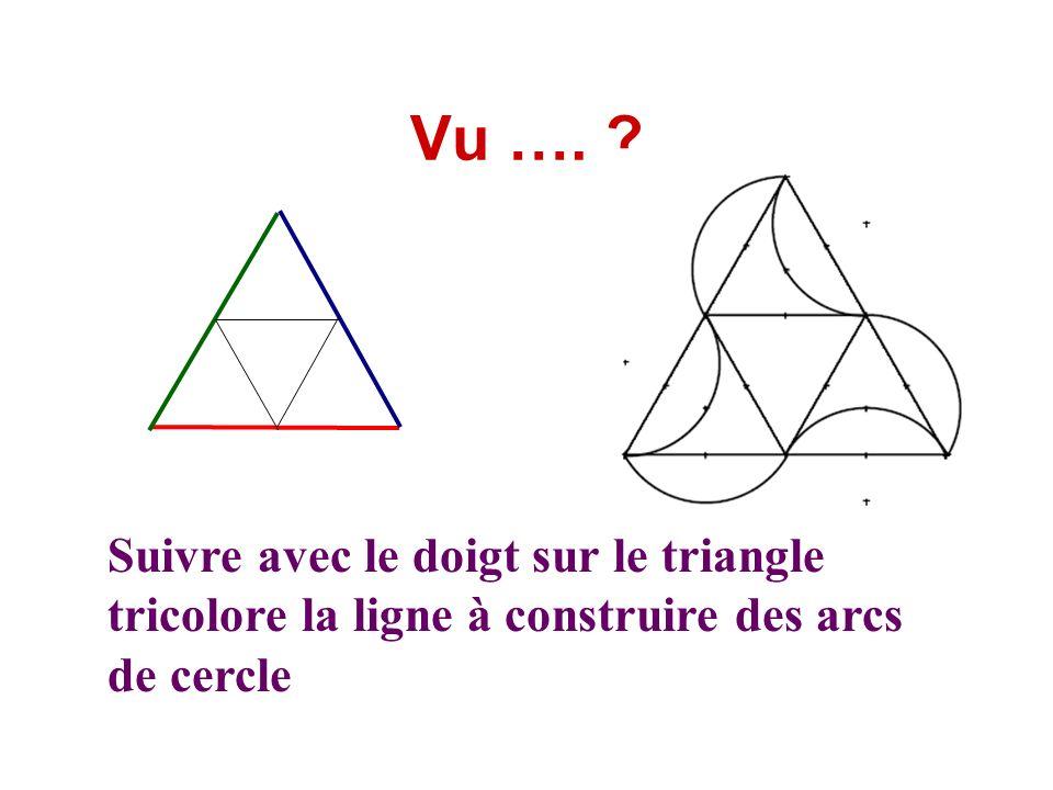 Vu …. Suivre avec le doigt sur le triangle tricolore la ligne à construire des arcs de cercle