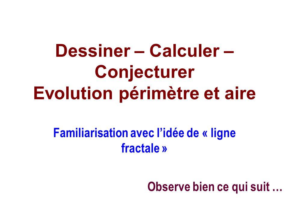 Dessiner – Calculer – Conjecturer Evolution périmètre et aire