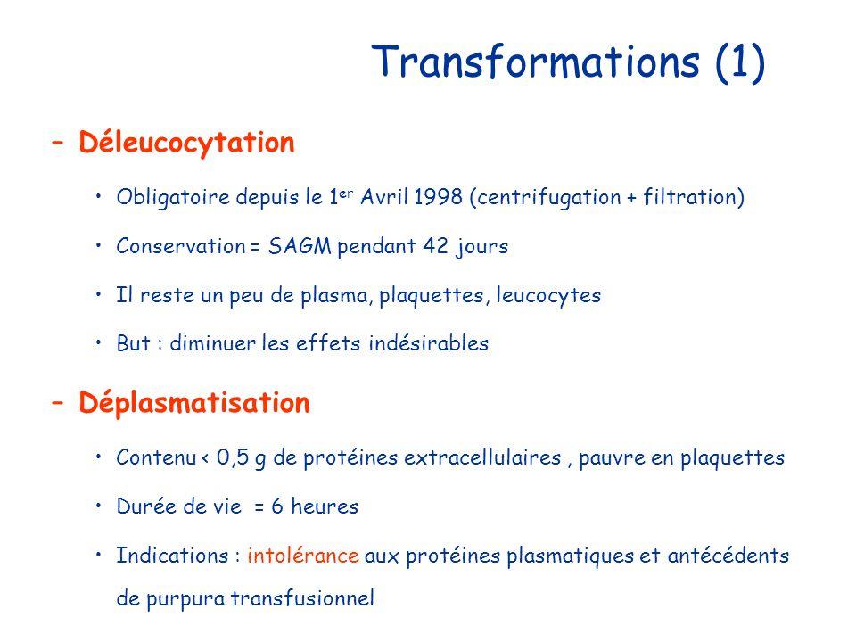 Transformations (1) Déleucocytation Déplasmatisation