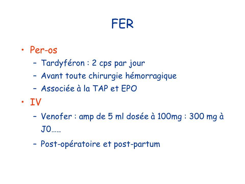 FER Per-os IV Tardyféron : 2 cps par jour