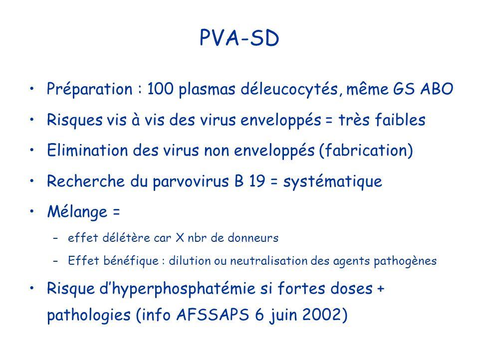 PVA-SD Préparation : 100 plasmas déleucocytés, même GS ABO