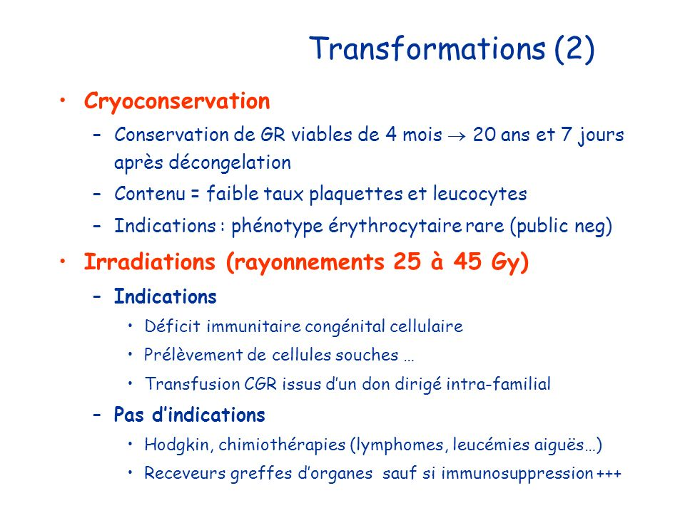 Transformations (2) Cryoconservation