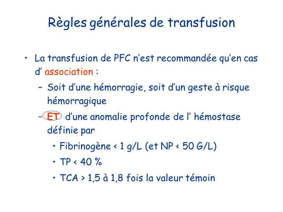 Règles générales de transfusion