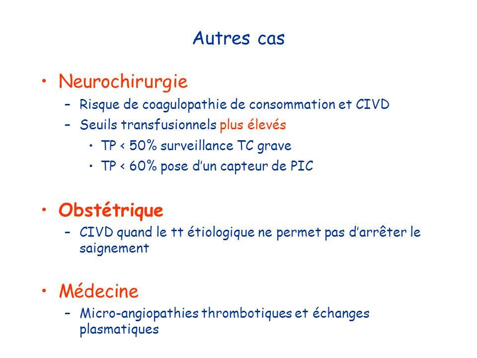 Autres cas Neurochirurgie Obstétrique Médecine