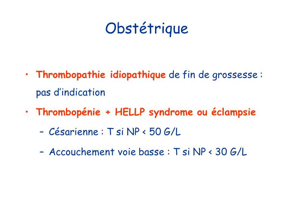 Obstétrique Thrombopathie idiopathique de fin de grossesse : pas d'indication. Thrombopénie + HELLP syndrome ou éclampsie.