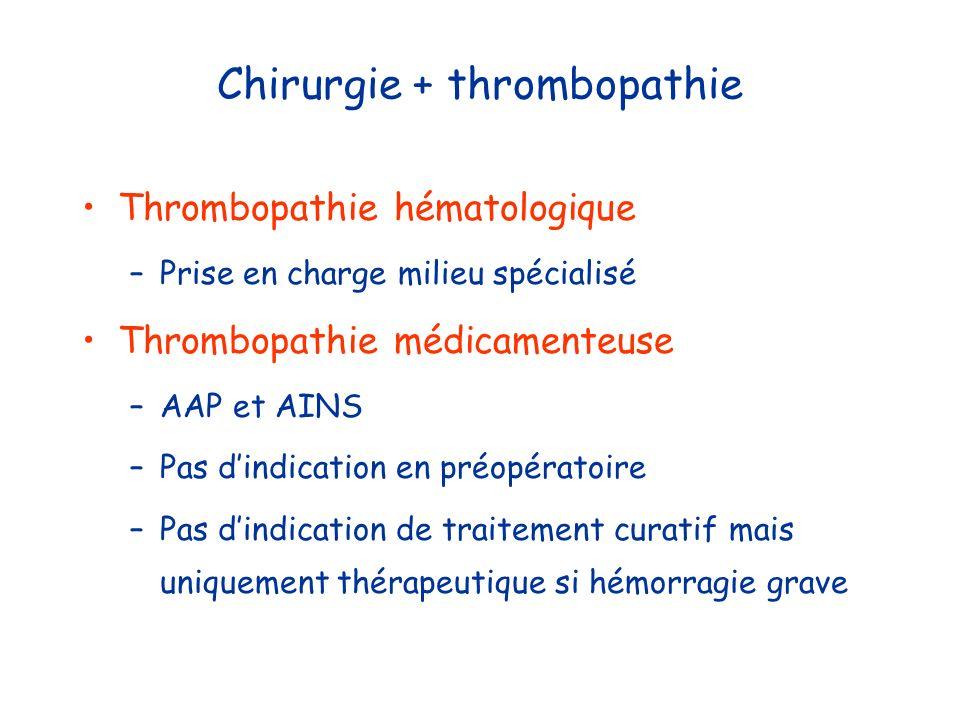 Chirurgie + thrombopathie