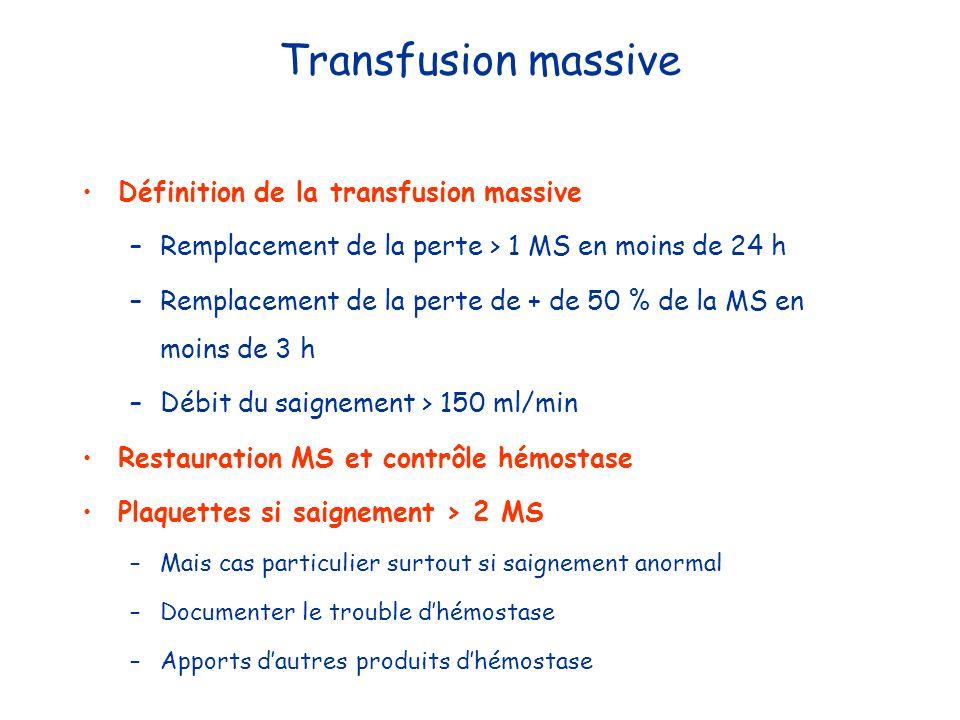 Transfusion massive Définition de la transfusion massive