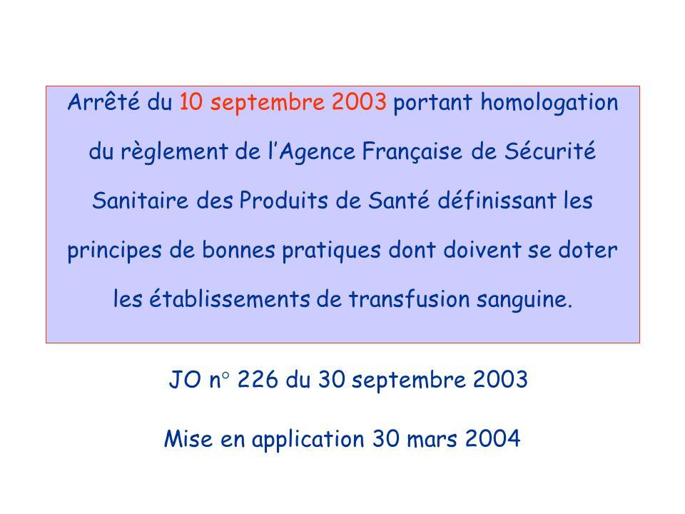 Arrêté du 10 septembre 2003 portant homologation du règlement de l'Agence Française de Sécurité Sanitaire des Produits de Santé définissant les principes de bonnes pratiques dont doivent se doter les établissements de transfusion sanguine.