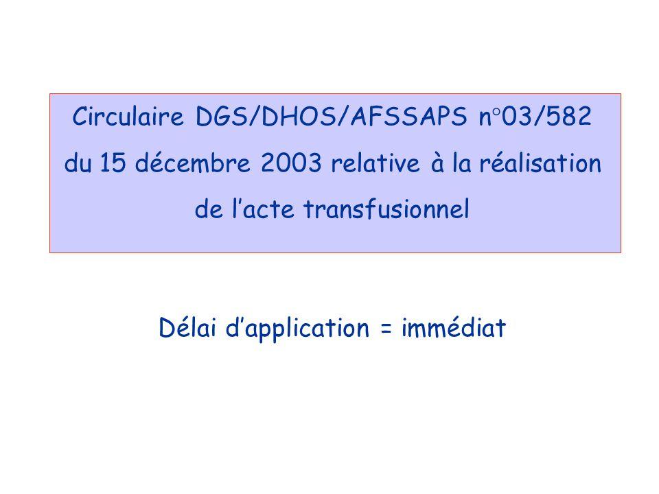 Circulaire DGS/DHOS/AFSSAPS n°03/582 du 15 décembre 2003 relative à la réalisation de l'acte transfusionnel Délai d'application = immédiat
