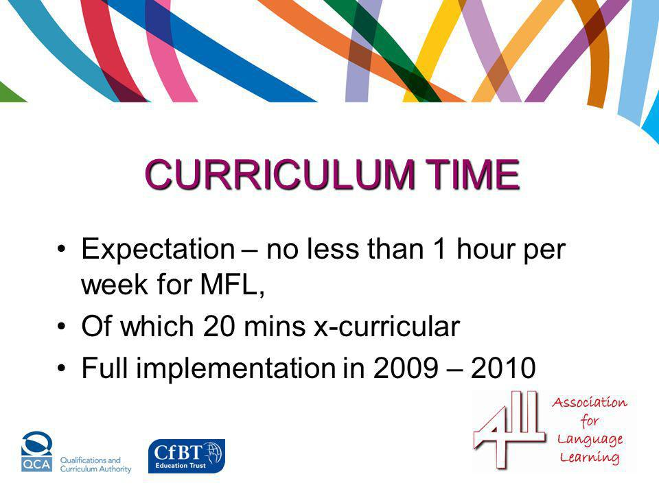 CURRICULUM TIME Expectation – no less than 1 hour per week for MFL,