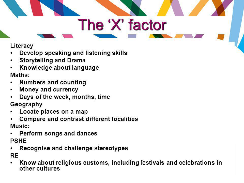The 'X' factor Literacy Develop speaking and listening skills