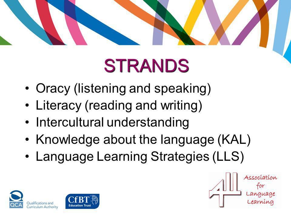 STRANDS Oracy (listening and speaking) Literacy (reading and writing)