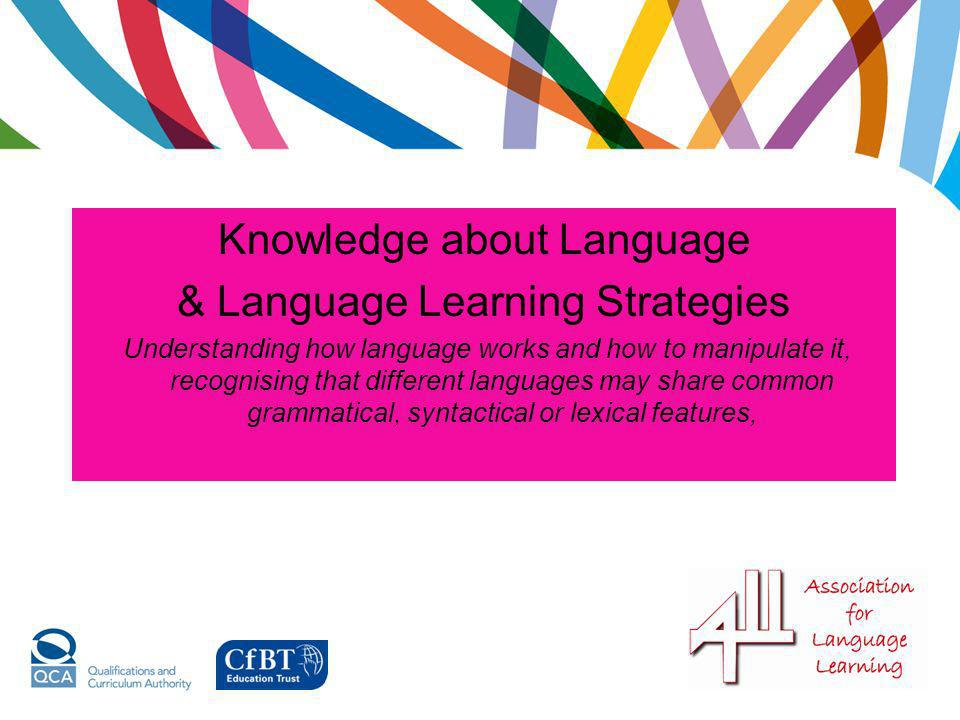 Knowledge about Language & Language Learning Strategies