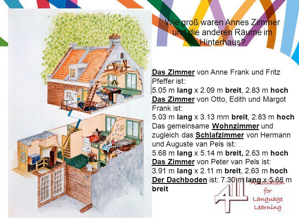 Wie groß waren Annes Zimmer und die anderen Räume im Hinterhaus