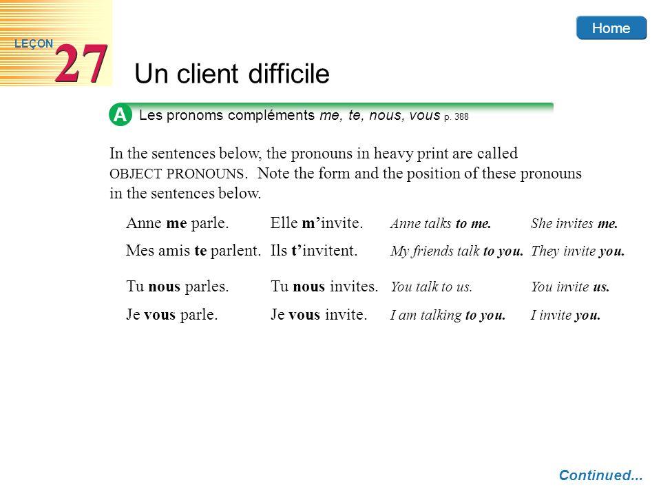 A Les pronoms compléments me, te, nous, vous p. 388.
