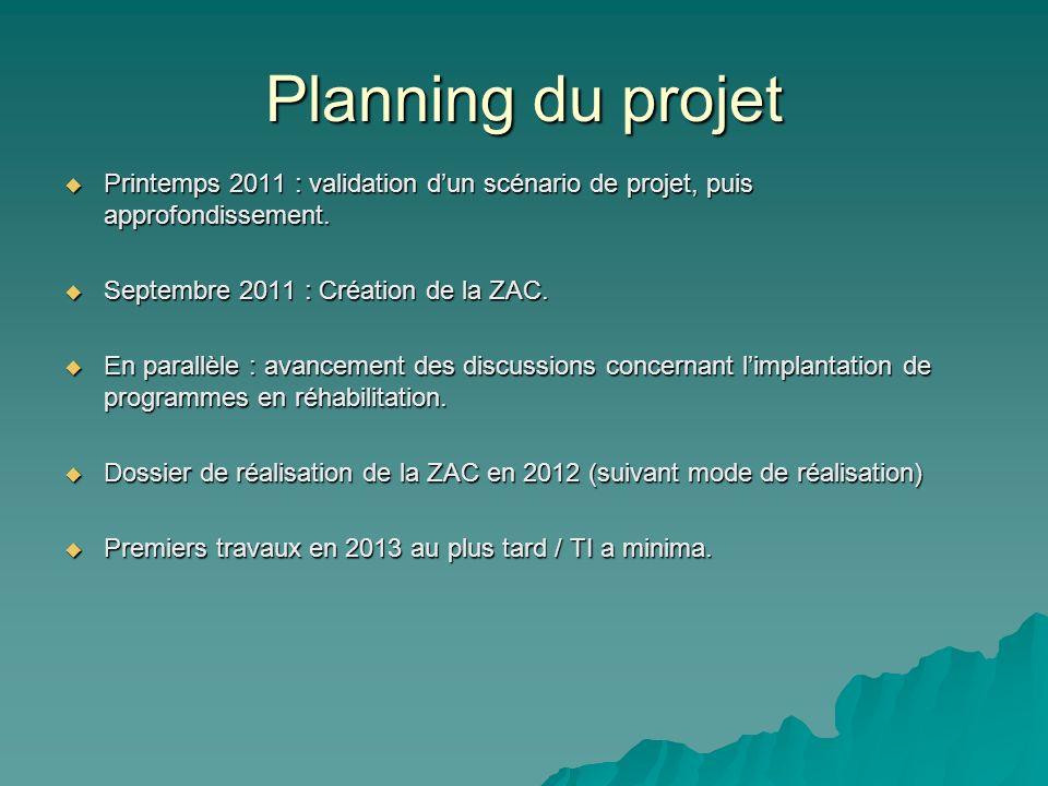 Planning du projetPrintemps 2011 : validation d'un scénario de projet, puis approfondissement. Septembre 2011 : Création de la ZAC.
