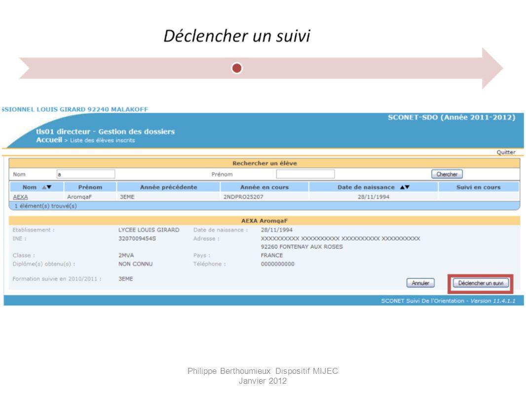 Philippe Berthoumieux Dispositif MIJEC Janvier 2012