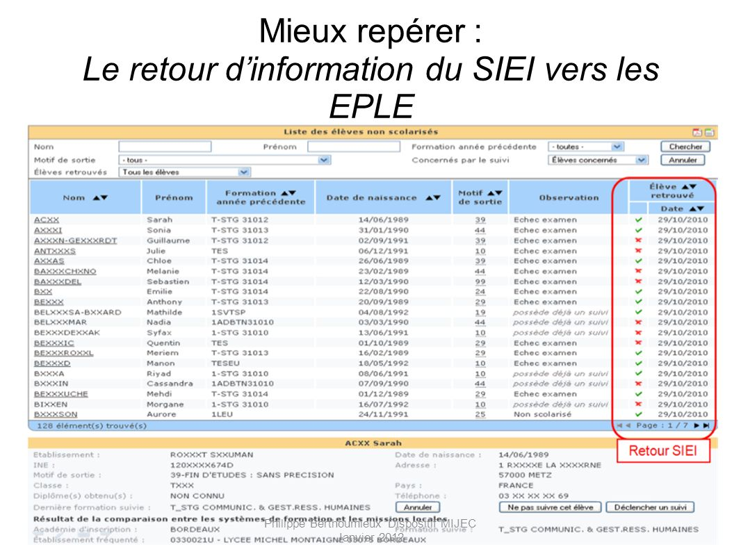 Mieux repérer : Le retour d'information du SIEI vers les EPLE