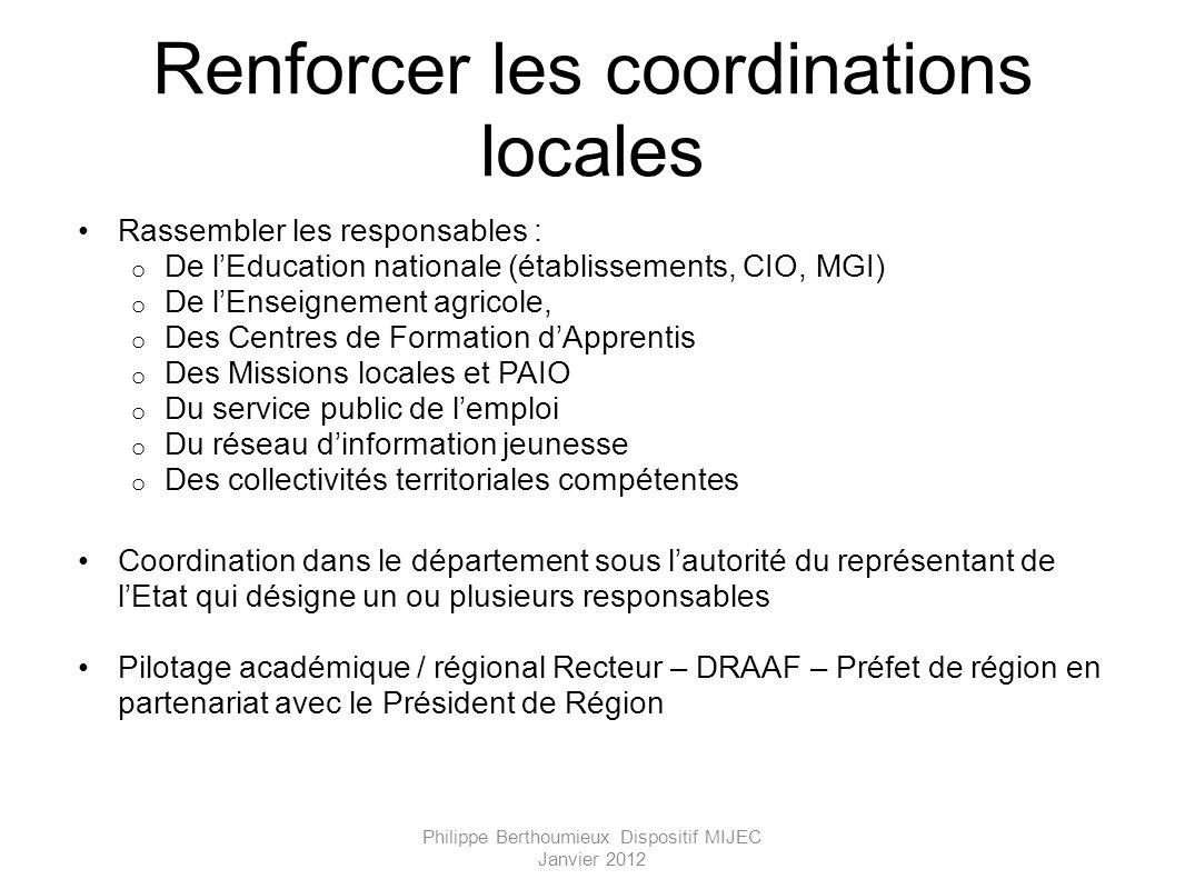 Renforcer les coordinations locales