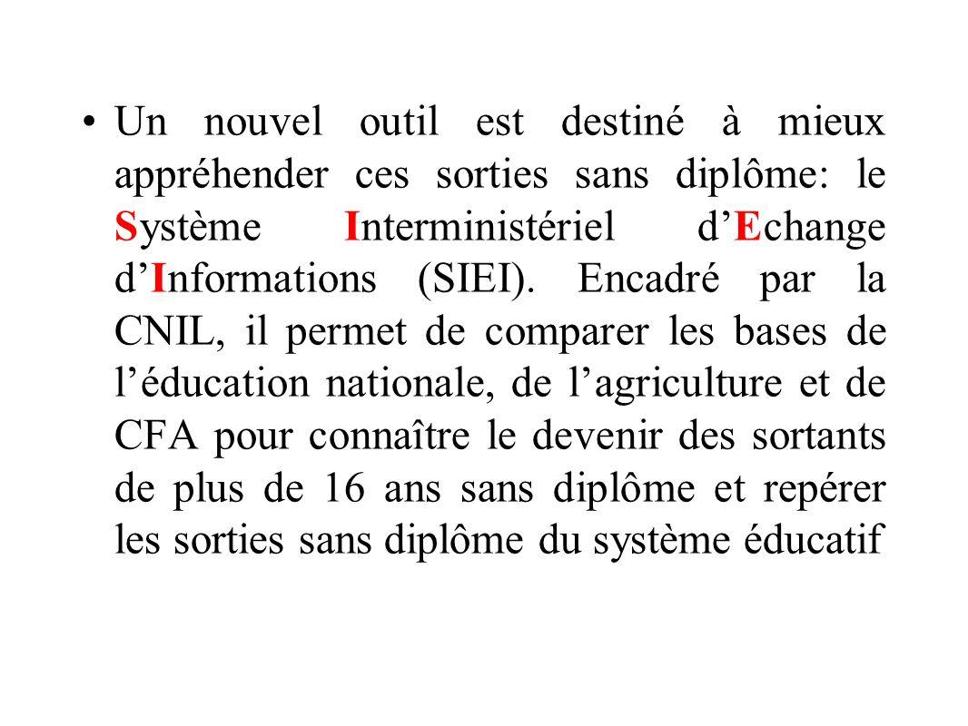 Un nouvel outil est destiné à mieux appréhender ces sorties sans diplôme: le Système Interministériel d'Echange d'Informations (SIEI).