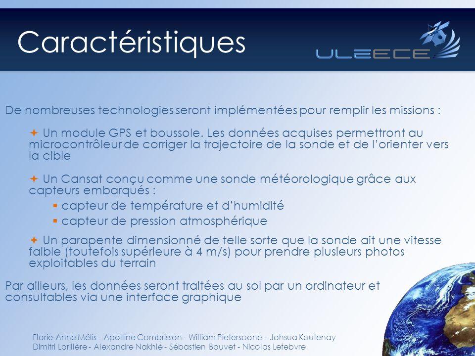 Caractéristiques De nombreuses technologies seront implémentées pour remplir les missions :