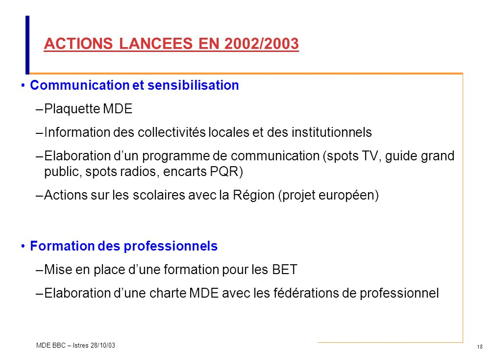 ACTIONS LANCEES EN 2002/2003 Communication et sensibilisation