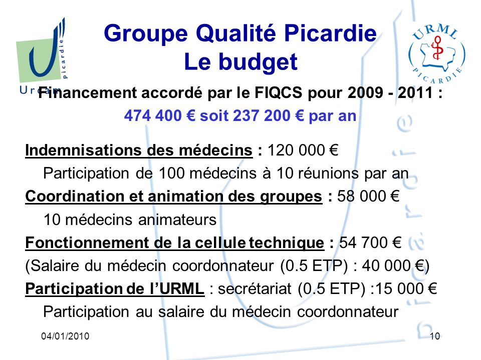 Groupe Qualité Picardie Le budget