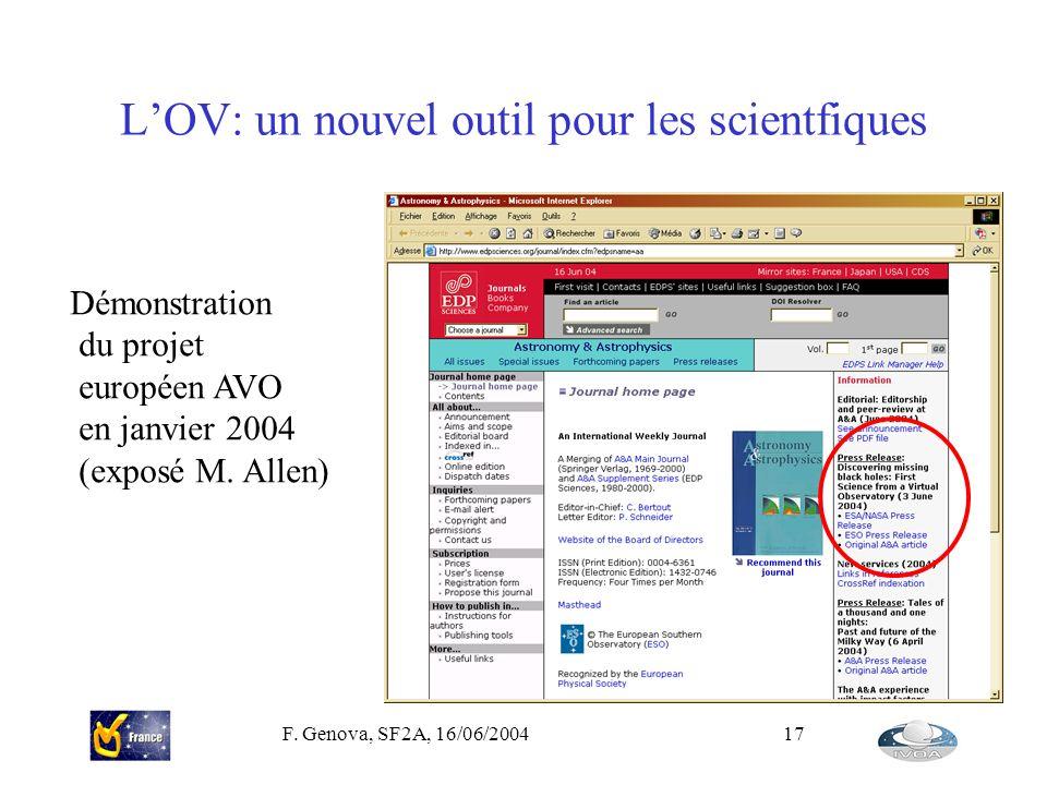 L'OV: un nouvel outil pour les scientfiques