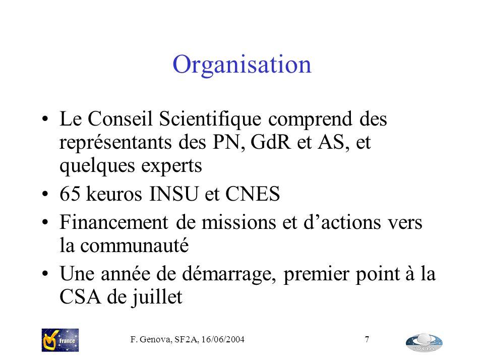 Organisation Le Conseil Scientifique comprend des représentants des PN, GdR et AS, et quelques experts.