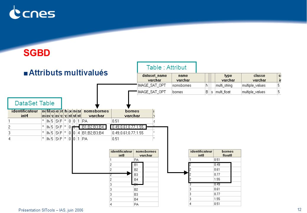 SGBD Attributs multivalués Table : Attribut DataSet Table